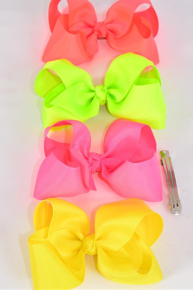 "Hair Bow Jumbo Neon 6""x 5"" French Clip Grosgrain Bow-tie/DZe **Neon** French Clip, Size-6""x 5"" Wide,3 of each Color Mix,Clip Strip & UPC Code"