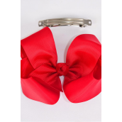 "Hair Bow Jumbo Red 6""x 5"" French Clip Grosgrain Bow-tie/DZ **Crimson**  French Clip,Size-6""x 5"" Wide,Clip Strip & UPC Code"