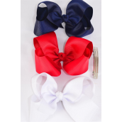 "Hair Bow Jumbo French Clip Red White Navy Mix  6""x 5"" Grosgrain Bow-tie Red White Navy Mix/DZ **French Clip** Size-6""x 5"" Wide,4 of each Color Asst,Clip Strip & UPC Code"