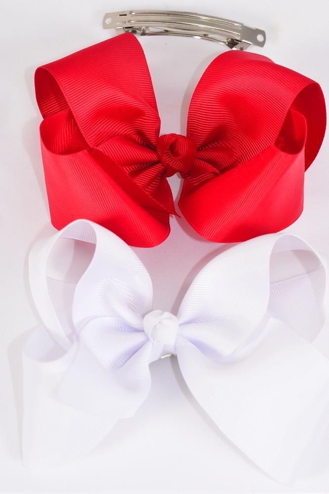 "Hair Bow Jumbo Red & White 6""x 5"" French Clip Grosgrain Bow-tie/DZ **Red & White**  French Clip,Size-6""x 5"" Wide, 6 Navy,6 White Mix,Clip Strip & UPC Code"