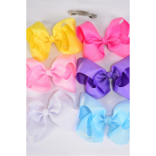 "Hair Bow Jumbo Pastel 6""x 5"" French Clip Grosgrain Bow-tie/DZ **Pastel** French Clip,Bow-6""x 5"" Wide,2 of each Color Asst,Clip Strip & UPC Code"