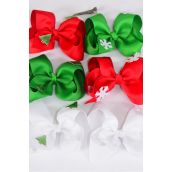 "Hair Bow Large Xmas Snow Flake & Tree Mix Alligator Clip/DZ **Alligator Clip** Size-5"" x 4"",2 of each Style Asst,Display Card & UPC Code,Clear Box"