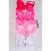 "Hair Bow Jumbo Pink Mix French Clip 6""x 5"" Grosgrain Fabric Bow-tie/DZ **Pink Mix** French Clip,Size-6""x 5"" Wide,3 of each Color Asst,Clip Strip & UPC Code"