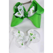"Hair Bow Jumbo Double Layer Bow Grosgrain Bow-tie Shamrock/DZ **Alligator Clip** Size-6""x 5"" Wide,6 of each Color Asst,Clip Strip & UPC Code"