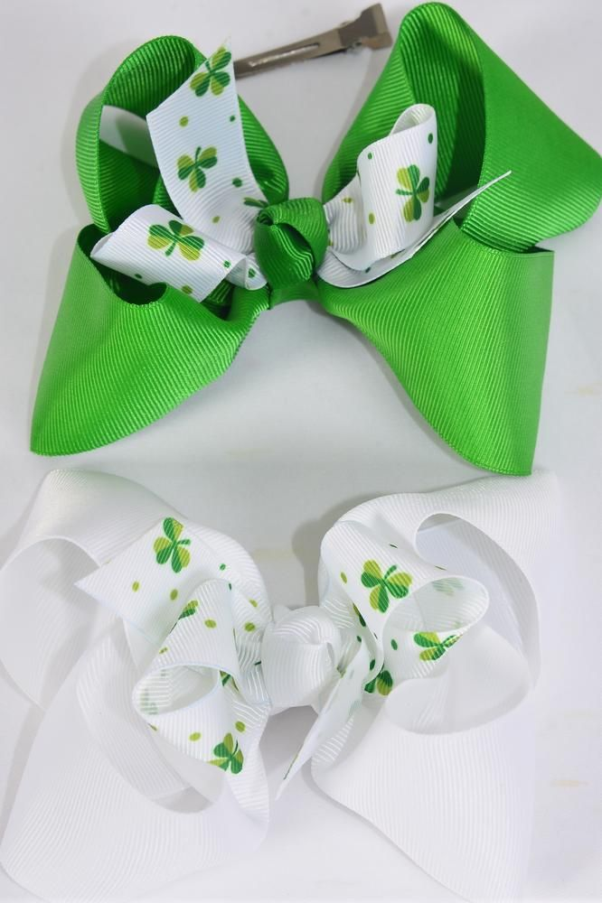 "Hair Bow Jumbo Double Layered  Shamrock Grosgrain Bow-tie/DZ **Alligator Clip** Size-6""x 5"" Wide,6 of each Color Asst,Clip Strip & UPC Code"