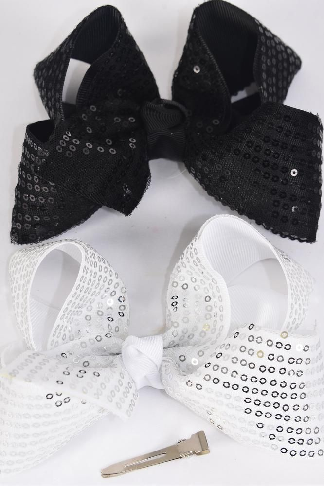 "Hair Bow Jumbo Sequin Double Layered Black & White Mix  Grosgrain Bow-tie/DZ **Black & White** Alligator Clip,Size-6""x 5"" Wide,6 Black,6 White Asst,Clip Strip & UPC Code"