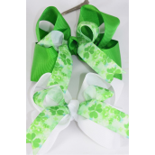 "Hair Bow Jumbo Double Layered Shamrock Grosgrain Bow-tie/DZ **Alligator Clip** Size-6""x 6"" Wide,6 of each Color Asst,Clip Strip & UPC Code"