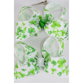 "Hair Bow Jumbo Bow Grosgrain Bow-tie Shamrock/DZ **Alligator Clip** Size-6""x 5"" Wide,6 of each Color Asst,Clip Strip & UPC Code"