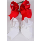 "Hair Bow Jumbo Double Layered Long Tail  Center Clear Stones Grosgrain Bow-tie Red & White/DZ **Red & White** Alligator Clip, Size-6""x 6"" Wide,6 of each Color Asst,Clip Strip & UPC Code"
