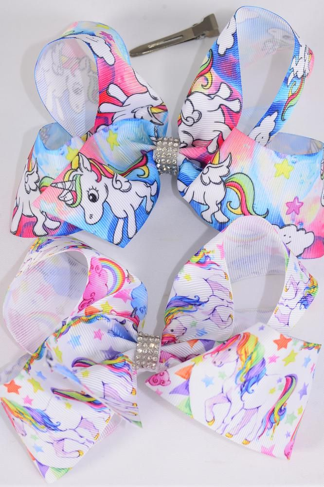 "Hair Bow Jumbo Unicorn Grosgrain Bow-tie/DZ **Alligator Clip** Size-6""x 5"" Wide,6 of each Color Asst,Clip Strip & UPC Code"