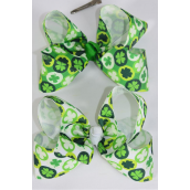 "Hair Bow Jumbo Bow Clover Grosgrain Bow-tie/DZ **Alligator Clip** Size-6""x 5"" Wide,6 of each Color Asst,Clip Strip & UPC Code"