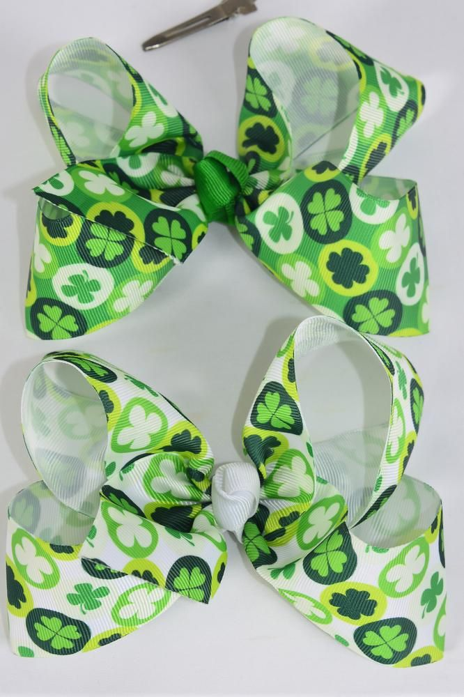 "Hair Bow Jumbo Bow Grosgrain Bow-tie Clover/DZ **Alligator Clip** Size-6""x 5"" Wide,6 of each Color Asst,Clip Strip & UPC Code"