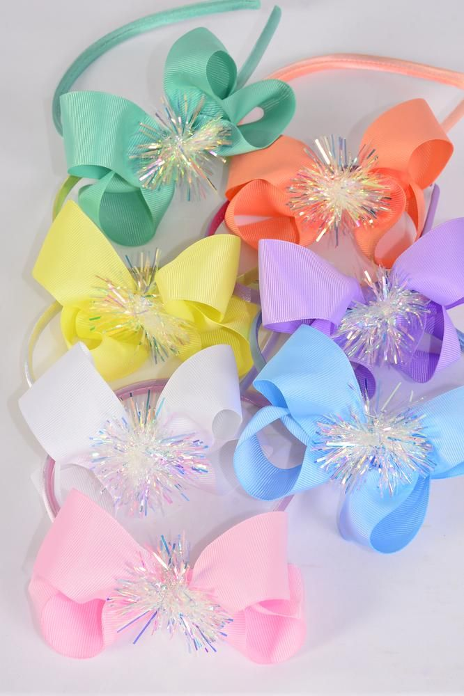 "Headband Horseshoe Pom Pom Iridescent Grosgrain Bow-tie Pastel/DZ **Pastel** Bow Size-6""x 5"" Wide,2 White,2 Pink,2 Yellow,2 Lavender,2 Blue,1 Hot Pink,1 Mint Green,7 Color Mix,Hang Tag & OPP Bag & UPC Code"