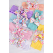 "Headband Cotton Stretch Unicorn Grosgrain Bow Pastel/DZ **Pastel** Stretch,Width -2.5"" Wide,Bow-4"" Wide,2 White,2 Pink,2 Blue,2 Purple,2 Yellow,1 Peach,1 Mint Green,7 Color Mix,Hang Tag & UPC Code"