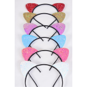 "Headband Horseshoe Cat Ears Glitter Pastel/DZ **Pastel** Bow Size-6""x 5"" Wide,2 White,2 Pink,2 Yellow,2 Lavender,2 Blue,1 Hot Pink,1 Mint Green,7 Color Mix,Hang Tag & OPP Bag & UPC Code"