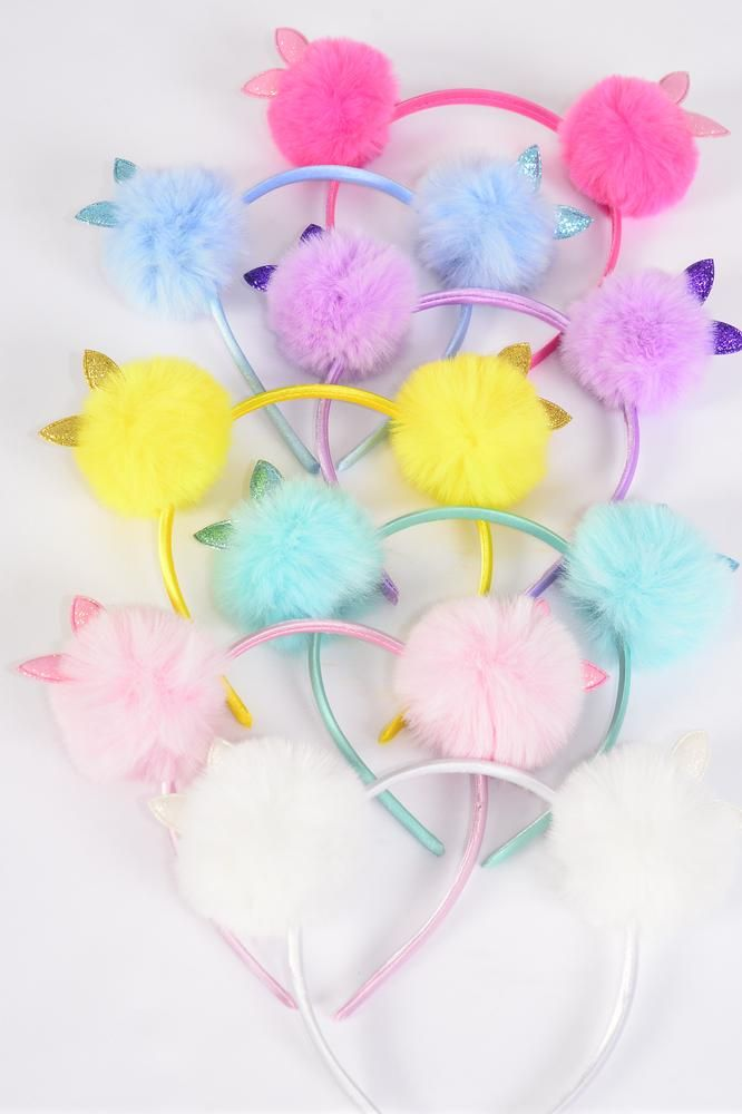 Headband Horseshoe Pom Pom Double Bunny Ears Sequin Multi/DZ **Multi** 3 of each Color Asst,Hang Tag & UPC Code