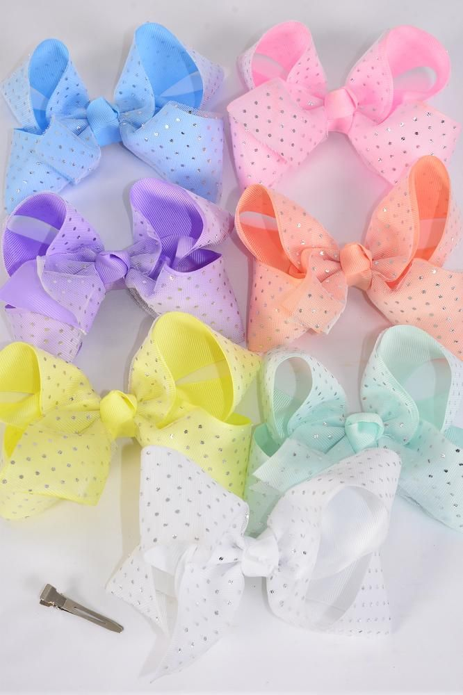 "Hair Bow Jumbo Double Layered  Metallic Silver Dots Grosgrain Bow-tie Pastel/DZ **Pastel** Size-6""x 5"",Alligator Clip,2 White,2 Baby Pink,2 Lavender,2 Blue,2 Yellow,1 Peach,1 Mint Green,7 Color Asst,Clear Strip & UPC Code"