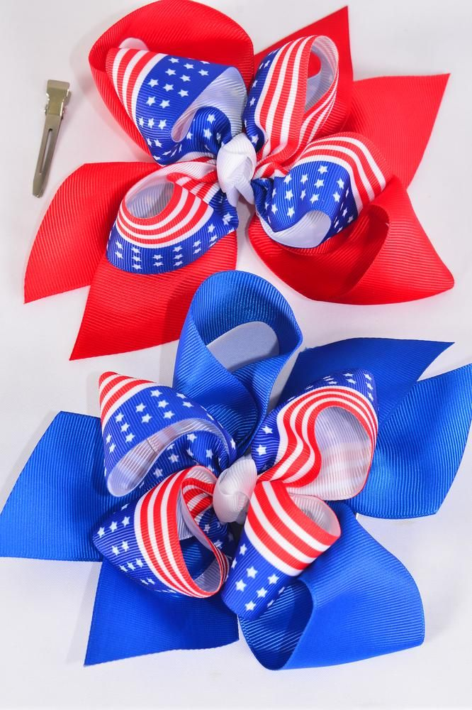 "Hair Bow Jumbo Double Layered Patriotic-Flag Extra Jumbo Alligator Clip Grograin Bowtie/DZ ** Alligator Clip** Bow-6""x 6"" Wide,4 White,4 Red,4 Blue,3 Color Asst,Clip Strip & UPC Code"