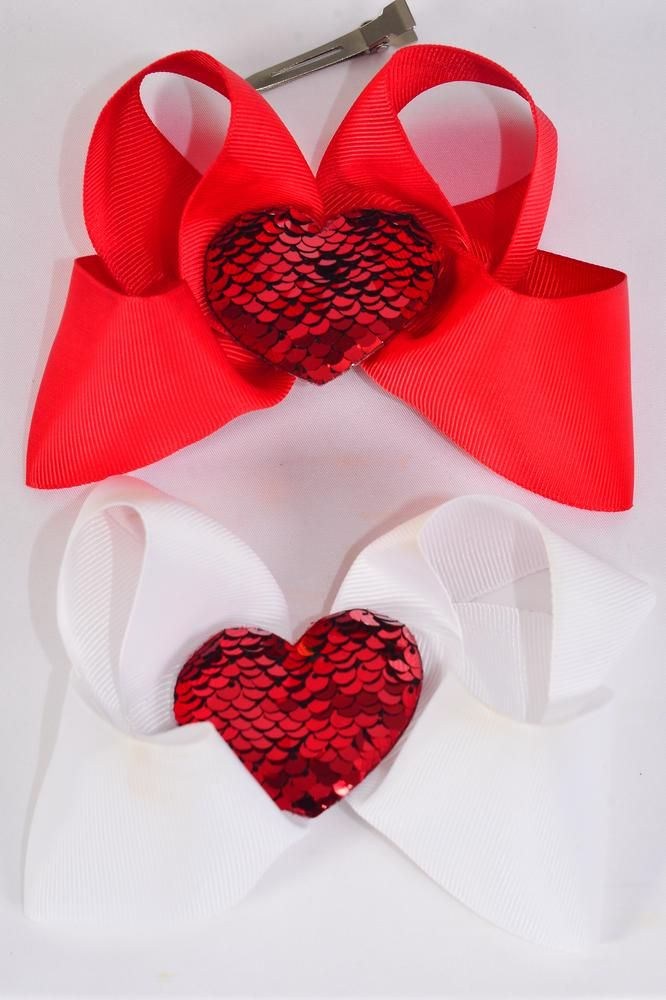 "Hair Bow Jumbo Large Sequin Heart Grosgrain Bow-tie Red & White/DZ **Red & White** Size-6""x 6"",Alligator Clip,6 Red,6 White Asst,Clip Strip & UPC Code"