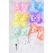"Hair Bow Jumbo Metallic Heart Grosgrain Bow-tie Pastel/DZ **Pastel** Size-6""x 6"",Alligator Clip,2 White,2 Baby Pink,2 Lavender,2 Blue,2 Yellow,1 Peach,1 Mint Green,7 Color Asst,Clear Strip & UPC Code"