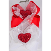 "Hair Bow Jumbo Large Sequin Heart Mesh Fabric Grosgrain Bow-tie Red & White/DZ **Red & White** Size-6""x 6"",Alligator Clip,6 Red,6 White Asst,Clip Strip & UPC Code"