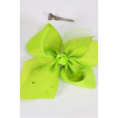 "Hair Bow Jumbo Metallic Double Layer Grosgrain Bow-tie Lime/DZ **Lime** Size-6""x 6 Wide,Alligator Clip,2 Fuchsia,2 Blue,2 Yellow,2 Purple,2 White,1 Lime,1 Orange,7 Color Mix,Clip Strip & UPC Code"