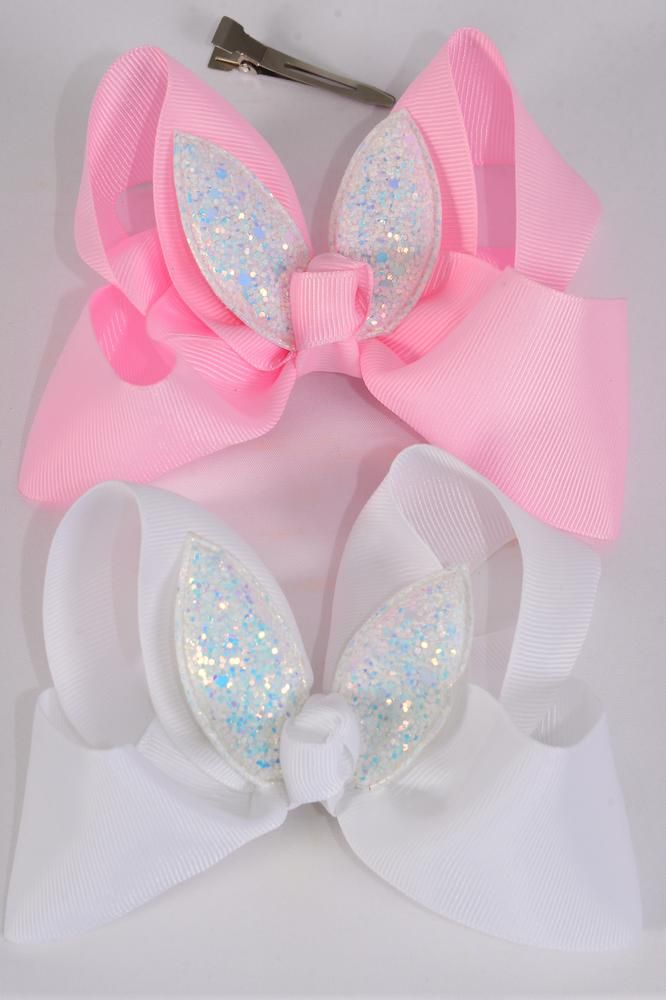 "Hair Bow Jumbo Metallic Bunny Ears Grosgrain Bow-tie Pink & White/DZ **Pink & White** Size-6""x 5"",Alligator Clip,6 Pink,6 White Color Asst,Clip Strip & UPC Cod"