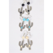 "Earrings Metal Antique Cactus Semiprecious Stone/DZ match 70131 **Fish Hook** Size-1.5"" x 0.75"" Wide,4 Black,4 Ivory,4 Turquoise Asst,Earring Card & OPP Bag & UPC Code -"