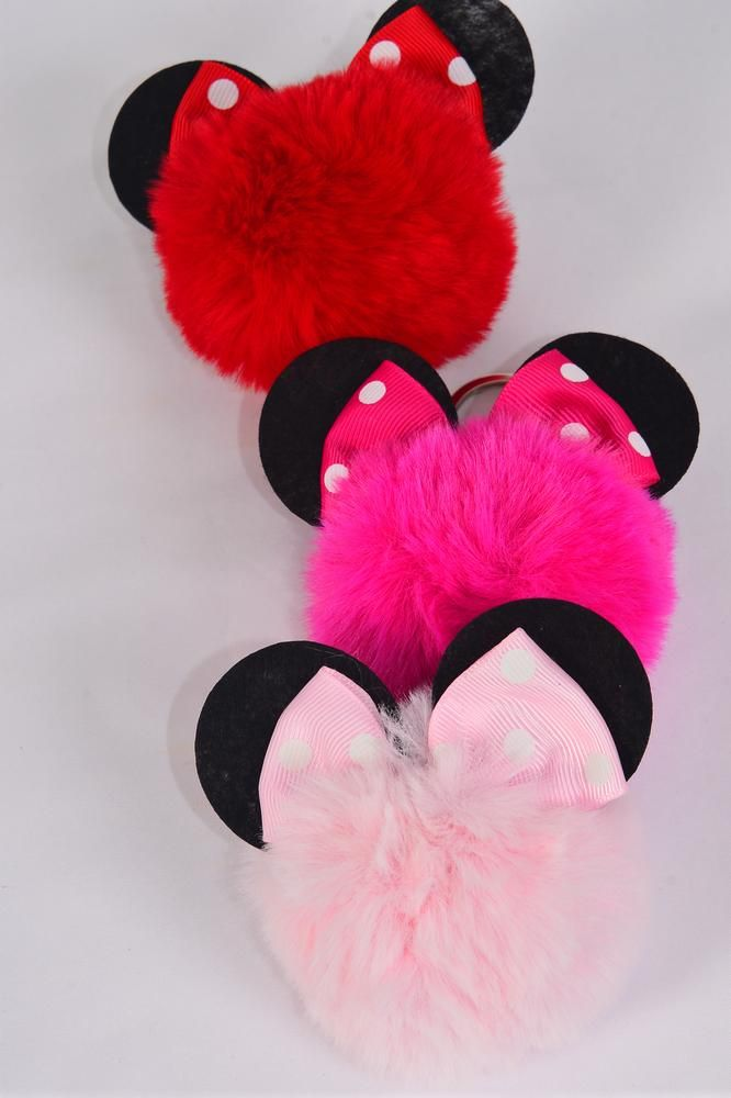 "key Chain Pom Pom Polka-dots Mouse Ears/DZ Fur Ball Size-3"" Wide,4 Red,4 Fuchsia,4 Baby Pink,3 Color Asst,OPP Bag & UPC Code"