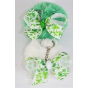 "Key Chain Pom Pom Shamrock Grosgrain Bow-tie/DZ Fur Ball Size-3"" Wide,Bow-3""x 2.5"",6 White,6 Green Color Asst,OPP Bag & UPC Code"