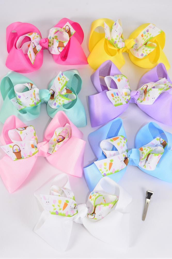 "Hair Bow Jumbo Double Layer Bunny W Easter Basket Grosgrain Bow-tie Pastel/DZ **Pastel** Alligator Clip, Bow-6""x 5"" Wide,2 White,2 Baby Pink,2 Yellow,2 Blue,2 Lavender,1 Hot Pink,1 Mint Green,Clip Strip & UPC Code"