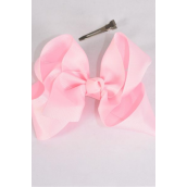 "Hair Bow Large 4""x 3"" Wide Baby Pink Alligator Grosgrain Bow-tie/DZ **Baby Pink** Alligator Clip,Size-4""x 3"" Wide,Clip Strip & UPC Code"