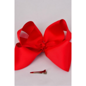 "Hair Bow Large 4""x 3"" Wide Red Grosgrain Bow-tie/DZ **Red** Alligator Clip,Size-4""x 3"" Wide,Clip Strip & UPC Code"
