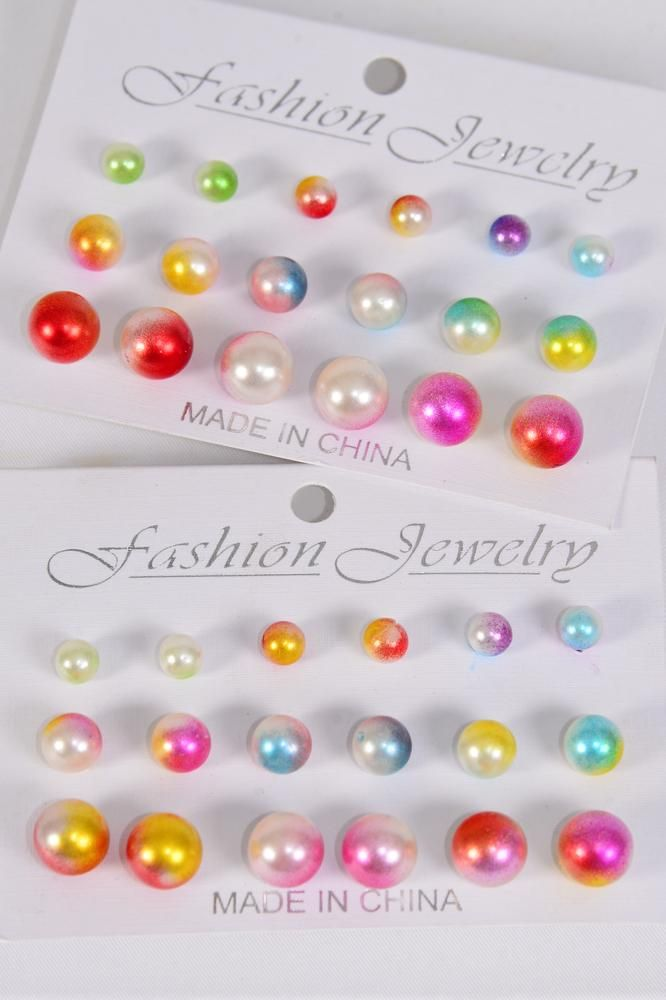 Earrings 9 Pair 6 8 10 mm 2 tone Pearls Multi/DZ **Post** Size-6 8 10 mm Mix,Pr Color Asst,Opp Bag & UPC Code,9 pair per Card,12 Card= Dozen