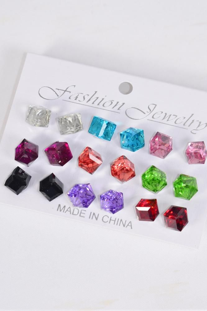 Earrings 9 Pair 10 mm Glass Cut Cube Multi/DZ **Post** Multi,Size-10 mm,Earring Card & OPP Bag & UPC Code,9 pair per Card,12 Card=Dozen