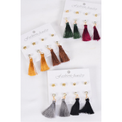 Earrings 4 Pair Tassel & Stud Mix Dark Multi/DZ **Post** Dark Multi,4 of each Pattern Asst,Earring Card & OPP Bag & UPC Code,4 pair per Card,12 Card= Dozen