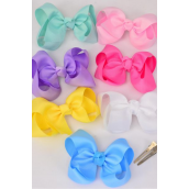 "Hair Bow Large 4""x 3"" Wide Pastel Alligator Grosgrain Fabric Bow-tie/DZ **Pastel** Alligator Clip,Size-4""x 3"" Wide,2 White,2 Yellow,2 Blue,2 Hot Pink,2 Lavender,1 Pink,1 Green 7 Color Asst,Clip Strip & UPC Code"