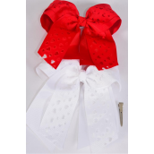 "Hair Bow Extra Jumbo Long Tail Cheer Type Bow Double Layer Cut Out Heart Grosgrain Bow-tie Red White Mix/DZ **Alligator Clip** Size-8""x 6"" Wide,6 Red,6 White Asst,Clip Strip & UPC Code"