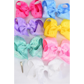 """Hair Bow Extra Jumbo Double Layer Cut Out Heart Grosgrain Bow-tie Pastel/DZ **Alligator Clip** Size-6""""x 5"""" Wide,2 White,2 Pink,1 Blue,1 Yellow,2 Lavender,2 Hot Pink,2 Mint Green Mix,7 Color Asst,Clip Strip & UPC Code"""