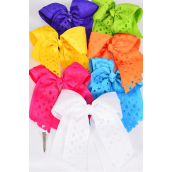 "Hair Bow Jumbo Long Tail Cheer Type Bow Double Layered Heart Grosgrain Bow-tie Citrus/DZ **Citrus** Size-7""x 6"" Wide,Alligator Clip,2 Fuchsia,2 Blue,2 Yellow,2 Purple,2 White,1 Lime,1 Orange,7 Color Asst,Clip Strip & UPC Cod"
