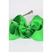 "Hair Bow Jumbo Clover Grosgrain Bow-tie/DZ **Alligator Clip** Size-6""x 5"" Wide,Clip Strip & UPC Code"