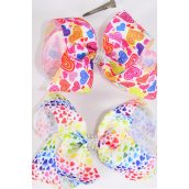 """Hair Bow Jumbo Hearts Center Clear Stones Grosgrain Bow-tie 2 Style Mix/DZ **Alligator Clip** Size-6""""x 5"""" Wide,6 of each Color Asst,Clip Strip & UPC Code"""