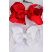 "Hair Bow Extra Jumbo Double Layer Cut Out Heart Grosgrain Bow-tie Red & White Mix/DZ **Alligator Clip** Size-6""x 5"" Wide,6 Red,6 White Mix,Clip Strip & UPC Code"