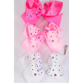 "Hair Bow Jumbo Double Layer Studded Heart Multi Color Stones Grosgrain Bow-tie Pink Mix/DZ **Pink Mix** Alligator Clip,Size-6""x 6"" Wide,4 White,4 Baby Pink,4 Hot Pink,3 Color Asst,Clip Strip & UPC Code"