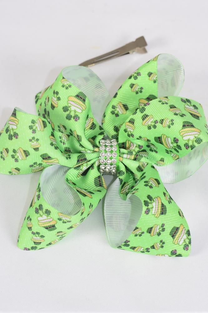 "Hair Bow Jumbo St Patrick Day Hat Center Clear Stone Grosgrain Bow-tie/DZ **Alligator Clip** Size-6""x 6"" Wide,Clip Strip & UPC Code"