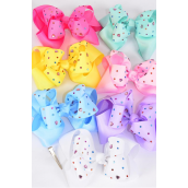 "Hair Bow Jumbo Double Layer Studded Heart  Stones Grosgrain Bow-tie Pastel/DZ **Pastel** Alligator Clip,Size-6""x 6"" Wide,2 White,1 Yellow,1 Blue,2 Baby Pink,2 Lavender,2 Hot Pink,2 Mint Green,7 Color Asst,Clip Strip & UPC Code"