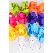 "Hair Bow Jumbo Double Layer Studded Heart Multi Color Stones Grosgrain Bow-tie Citrus/DZ **Citrus** Size-6""x 6"" Wide,Alligator Clip,2 Fuchsia,2 Blue,2 Yellow,2 Purple,2 White,1 Lime,1 Orange,7 Color Asst,Clip Strip & UPC Code"