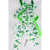 "Hair Bow Extra Jumbo Long Tail Shamrock Grosgrain Bow-tie/DZ **Alligator Clip** Size-6.5""x 6"" Wide,4 of each Color Asst,Clip Strip & UPC Code"