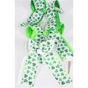 "Hair Bow JumboDouble Layered  Long Tail Shamrock Grosgrain Bow-tie/DZ **Alligator Clip** Size-6.5""x 6"" Wide,4 of each Color Asst,Clip Strip & UPC Code"