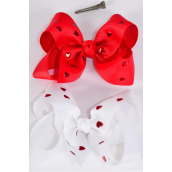 """Hair Bow Jumbo Metallic Studded Hearts Grosgrain Bow-tie Red & White /DZ **Red & White Mix** Size-6""""x 5"""",Alligator Clip,6 Red,6 White Color Asst,Clip Strip & UPC Code"""